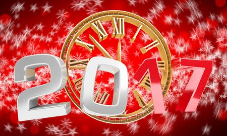 3D rendering clock 2017 new year eve illustration on red background Stock Photo
