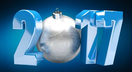 flyer background: 3D rendering blue 2017 new year eve illustration with silver christmas ball Stock Photo