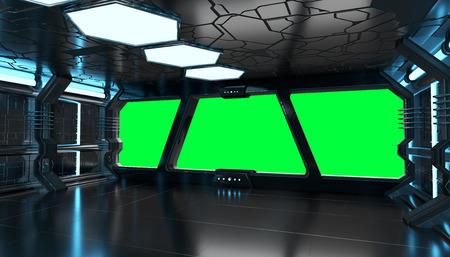 Nave espacial azul interior con vista de ventana con fondo verde Representación 3D de elementos de esta imagen proporcionada por NASA