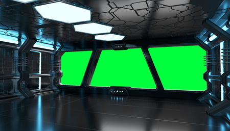 Spaceship blue interior with window view with green background 3D rendering elements of this image furnished by NASA 免版税图像