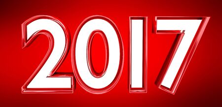 3D rendering 2017 new year eve illustration on red background