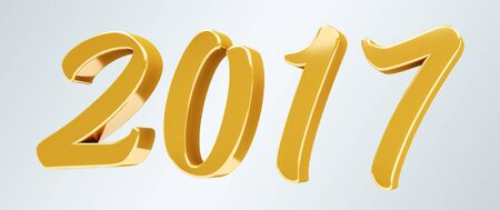 3D rendering gold 2017 new year eve illustration on grey background
