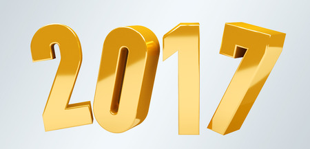 shinny: 3D rendering gold 2017 new year eve illustration on grey background