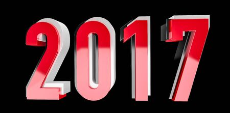 3D rendering red black and silver 2017 new year eve illustration on black background