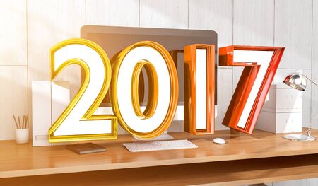 2017 neon text  floating over modern wood workspace 3D rendering Stock Photo