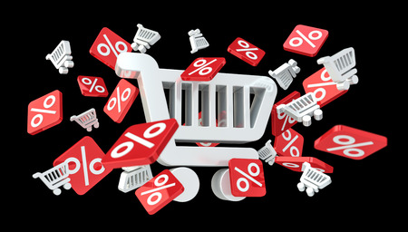 Sales icons and trolley floating in the air on black background 3D rendering