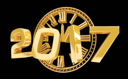 happy new year text: 3D rendering clock 2017 new year eve illustration on black background