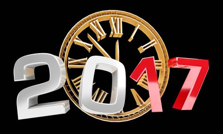 3D rendering clock 2017 new year eve illustration on black background