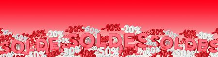 Sales icons and percent banner floating in the air on red background 3D rendering