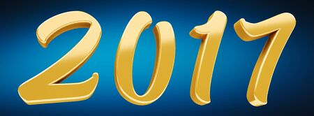 3D rendering gold 2017 new year eve illustration on blue background