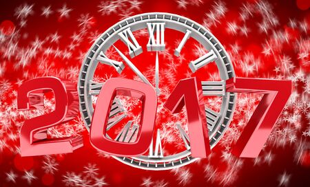christmas backgrounds: 3D rendering clock 2017 new year eve illustration on red background Stock Photo