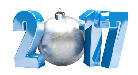 3D rendering blue 2017 new year eve illustration with silver christmas ball Stock Photo