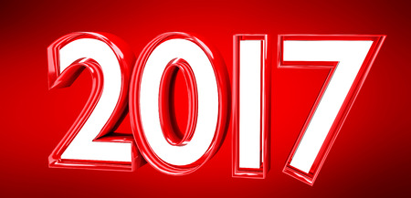 shinny: 3D rendering 2017 new year eve illustration on red background