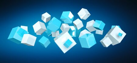 Floating blue and white shiny cube on blue background 3D rendering Stock Photo