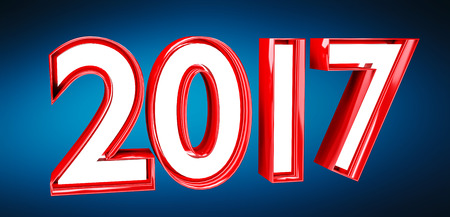 shinning: 3D rendering 2017 new year eve illustration on blue background