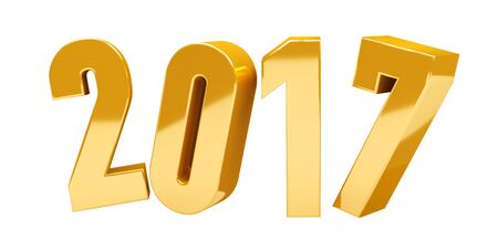 3D rendering gold 2017 new year eve illustration on white background
