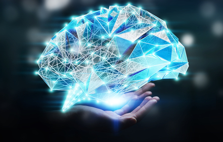 Businesswoman holding digital human brain with cell and neurons activity 3D rendering