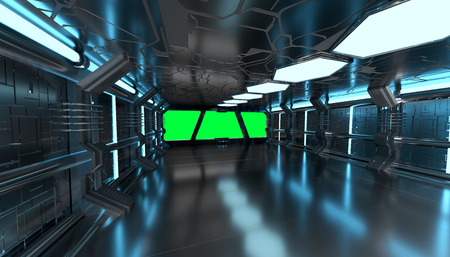 Spaceship blue interior with window view with green background 3D rendering elements of this image furnished by NASA Stock Photo