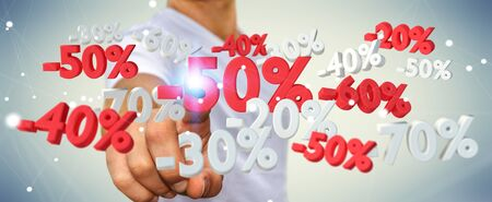 Businessman on blurred background touching sales icons with his finger 3D rendering Stock Photo