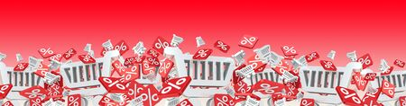 Sales icons and trolley floating in the air on red background 3D rendering