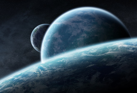 Distant planet system in space 3D rendering