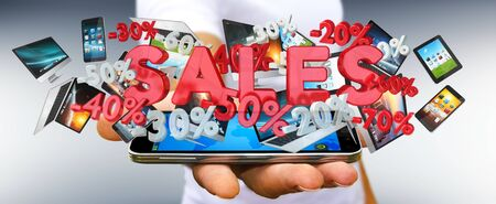 Businessman on blurred background holding sales icons over his phone 3D rendering