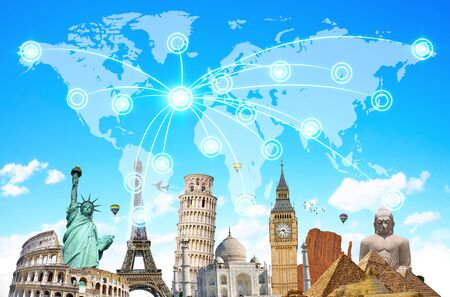 international internet: Famous landmarks of the world connected to each other in front of blue background
