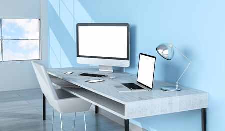 work from home: Modern blue desktop interior with blank screen computer and devices 3D rendering