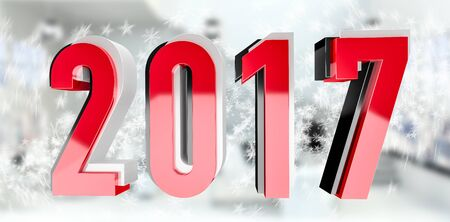 3D rendering red black and silver 2017 new year eve illustration on snow background