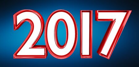 3D rendering 2017 new year eve illustration on blue background