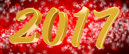 3D rendering gold 2017 new year eve illustration on red background