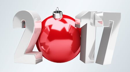 resolution: 3D rendering 2017 new year eve illustration with red christmas ball