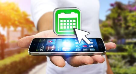 Businessman with modern mobile phone in his hand Stock Photo