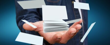 advice: Businessman holding white floating business card in his hand 3D rendering Stock Photo