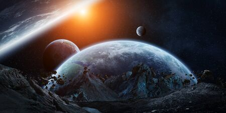 galactic: Gigantic asteroids in space about to crash on planets 3D rendering Stock Photo