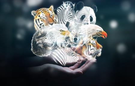Person holding in his hand fractal endangered animal illustration 3D rendering
