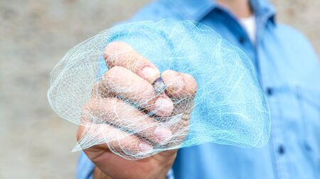 Businessman drawing digital human brain with cell and neurons activity 3D rendering Imagens