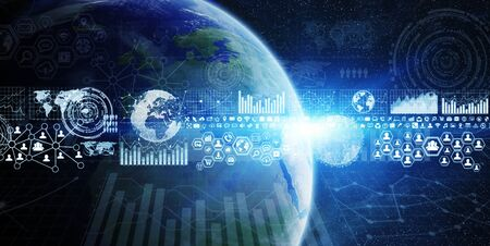 banco mundial: Network and data exchange over planet earth in space