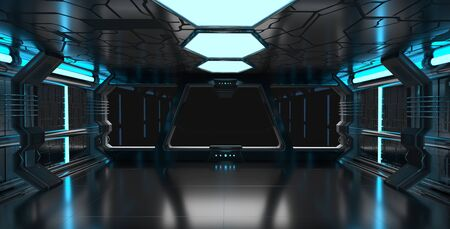 Spaceship blue interior with window view with black background 3D rendering