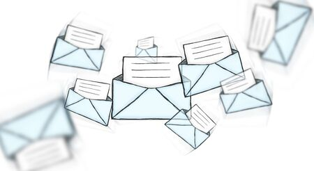 envelop: Hand drawn manuscript contact icons on white background