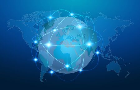 net trade: Blue global network over planet earth on blue background 3D rendering Stock Photo