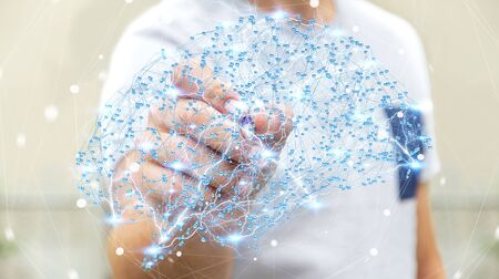 neurons: Businessman drawing digital human brain with cell and neurons activity 3D rendering Stock Photo
