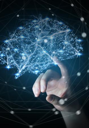 Zakenvrouw ontroerend digitale menselijk brein met mobiele en neuronen activiteit 3D-rendering