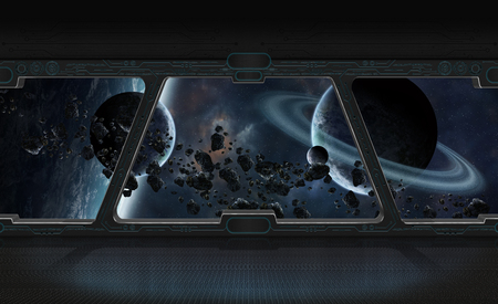 Window view of space and planets from a space station 3D rendering Stock Photo