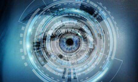 international internet: Close-up of woman digital eye during scanning process 3D rendering Stock Photo