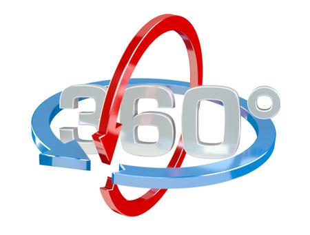 白い背景の上の 360 度 3 D レンダー アイコン