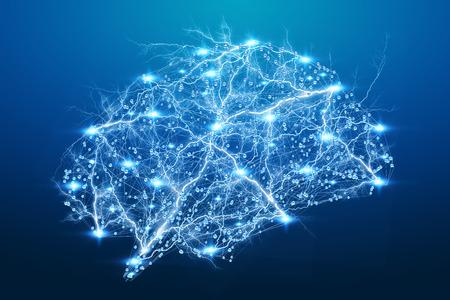 파란색 배경의 3D 렌더링 디지털 X 선 인간의 뇌 스톡 콘텐츠