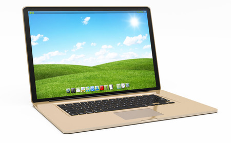 silver: Modern digital gold and black laptop on white background 3D rendering