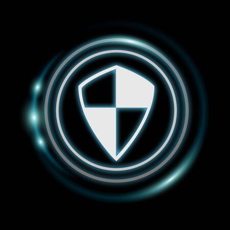 anti piracy: White and glowing blue shield icon 3D rendering on dark background Stock Photo