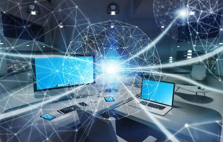 network server: Office with modern devices and digital datas on hologram screens 3D rendering Stock Photo